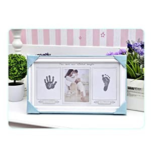 Baby Handprint & Footprint Photo Frame Kit, Pure Vie Gorgeous Keepsake with Non-Toxic and Clean-Touch Ink Pad - Memorable Newborn Baby Shower or Christening Gift, Toddlers Birthday Present, Wall Decor