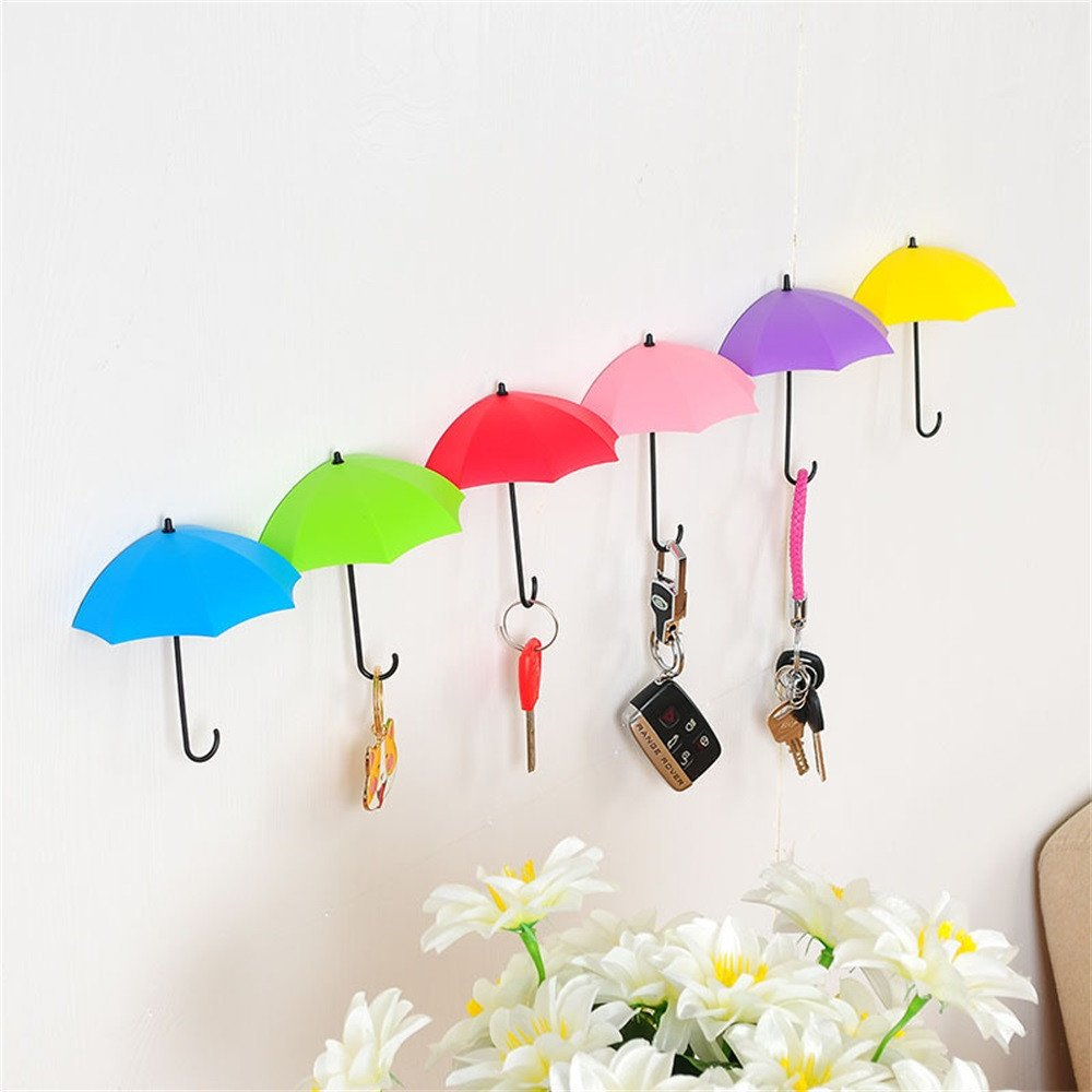Wall Hooks,Hongxin Creative 6PCS Colorful Umbrella Wall Hook Key Hair Pin Holder Organizer Decor Hanger Pin Key Holder Decorative Deluxe