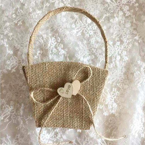 Dollbling Rustic Vintage Retro Wood Love Heart Burlap Wedding Flower Girl Basket + Ring Pillow +Guest Book + Pen Holder Set by Dollbling (Image #1)
