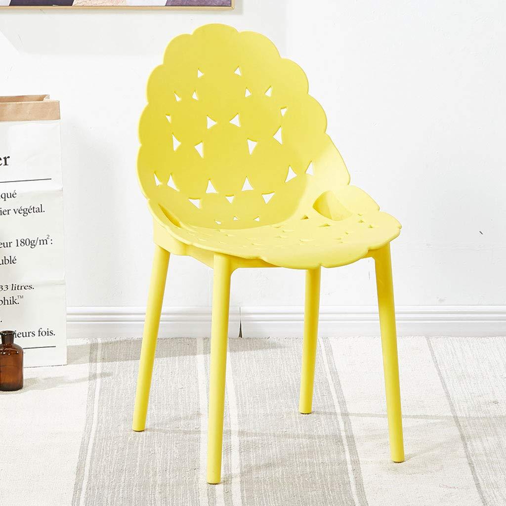 Yellow L45CMXH90CM CHX Backrest Plastic Nordic Chair Simple Lazy Home Restaurant Style C (color   bluee, Size   L45CMXH90CM)