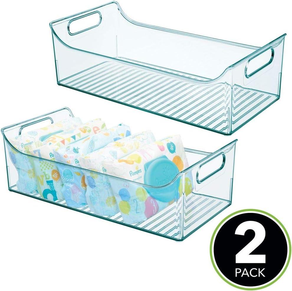 bleu clair mDesign rangement chambre enfant etc lot de 2 bac de rangement en plastique sans BPA un grand casier pour jouets grand panier de rangement sans couvercle avec poign/ées pratiques