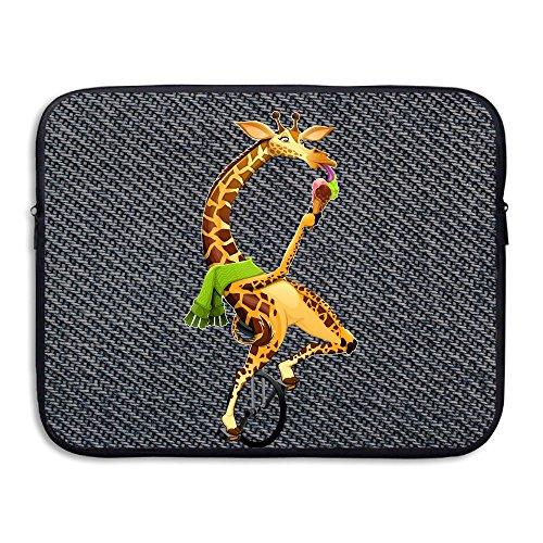 Custom Laptop Sleeve 13/15 Inch Macbook Zipper Briefcase Giraffe Cycling Ice Cream Print Portable Messenger Bag
