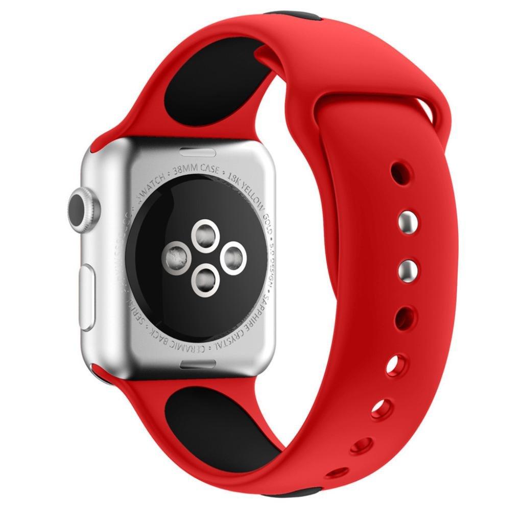 becolerソフトシリコンブレスレット用交換用時計バンドApple Watchシリーズ1 / 2 38 mm As show レッド レッド レッド B0792ZGN83