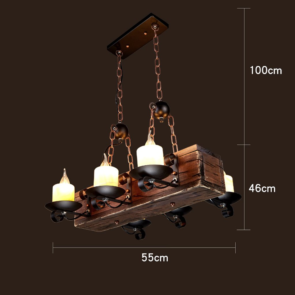 Retro industrial antique solid wood chandelier creative living room restaurant bar ceiling light pendant hanging lamp e27 light lamp fixture color k