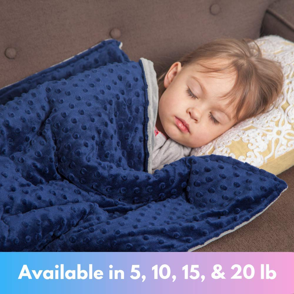 Roore 5 lb Weighted Blanket for Kids I 36''x48'' I Weighted Blanket with Plush Minky Blue Removable Cover I Weighted with Premium Glass Beads I Perfect for Children from 40 to 60 lb by Roore