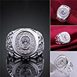 Sumanee Women Men Vintage Engagement Wedding Ring Rhinestone Silver Plated Jewelry (9)