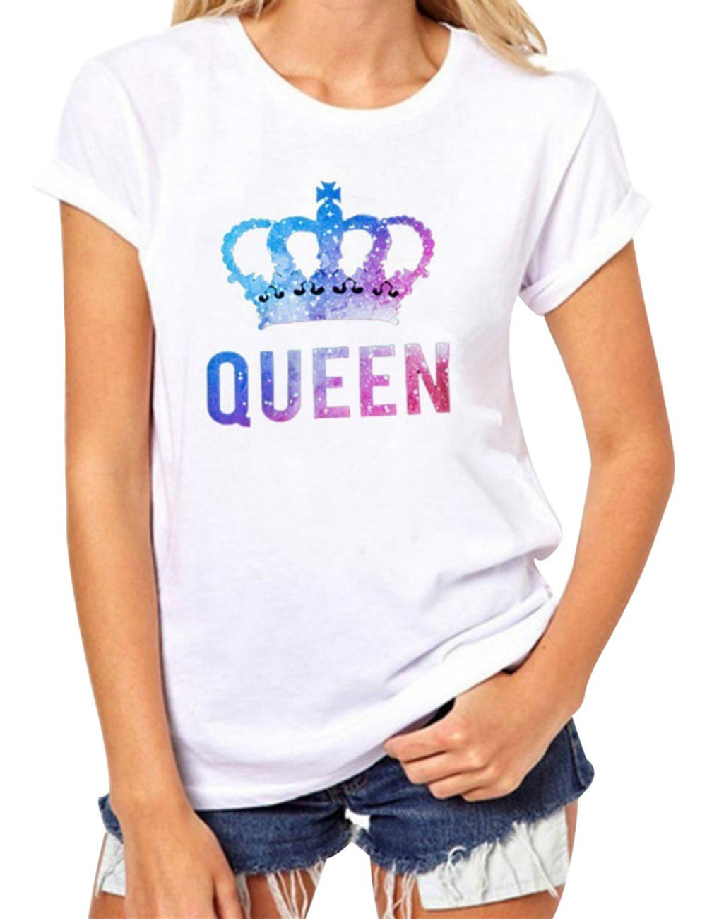 Bangerdei King and Queen Couples T-Shirts Anniversary Newlywed Matching Set Tops Valentines Gifts White 01 Women Queen M + Men King M by Bangerdei (Image #3)