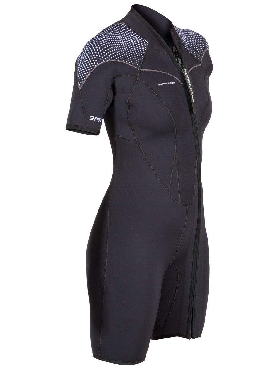Henderson Women's 3mm Thermoprene Pro Front Zip Shorty Wetsuit, Black/Purple, 4
