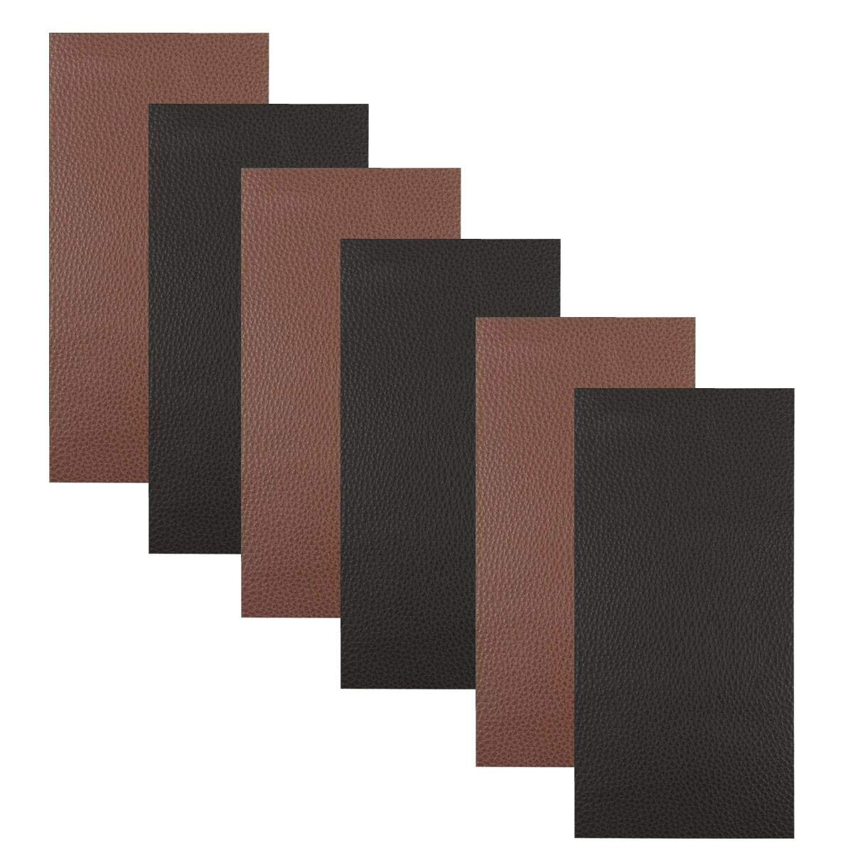 TSLIKANDO 6 Pieces Leather Repair Patch, Leather Self Adhesive Patch for Sofas Couch Handbags Jackets Car Seats, 8 x 11 inches, Brown and Black
