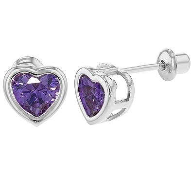 5214f5e685e9 In Season Jewelry - Corazón 925 Plata de Ley Circonita Morada Aretes con  Cierre de Rosca para Niñas  Amazon.es  Joyería