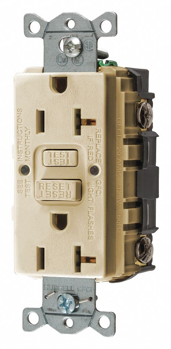 20A Commercial Environments Receptacle, Ivory; Tamper Resistant: No