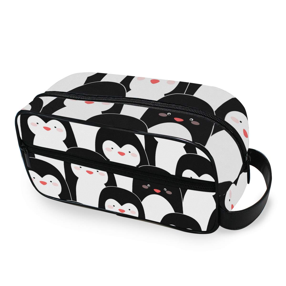 ZZAEO Cute Cartoon Seamless Penguins Small Makeup Bag - Dopp Kit with Handle Cute Portable Women Toiletry Cosmetic Organizer