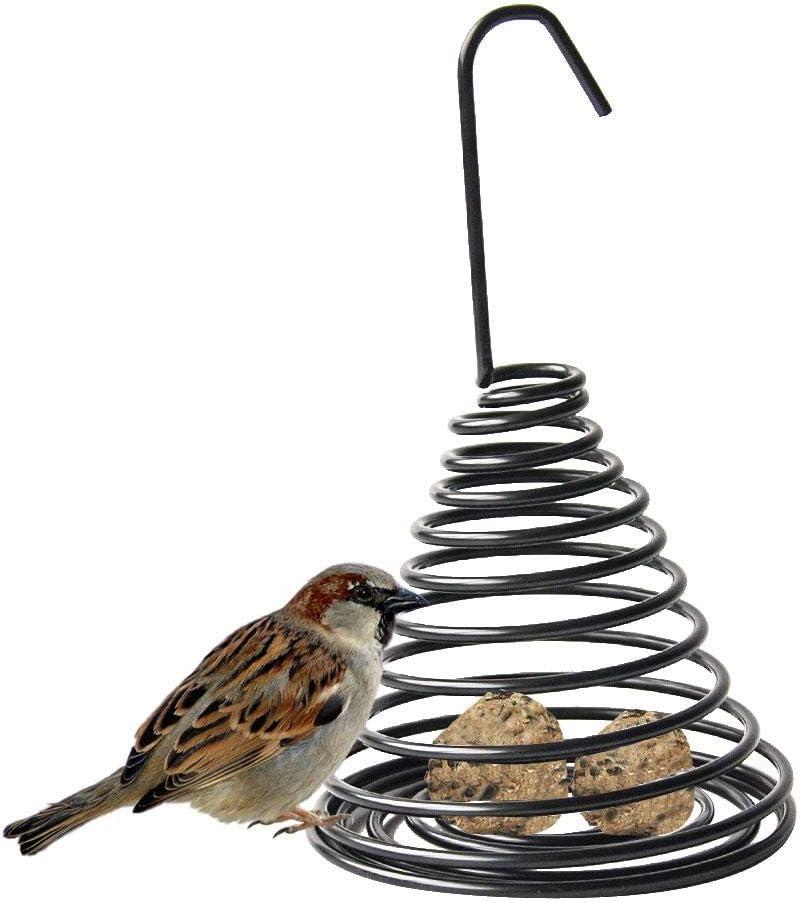 Comedero para pájaros, colgante para pájaros silvestres al aire libre en forma de jaula alimentador de pájaros para balcón jardín patio aves alimentación