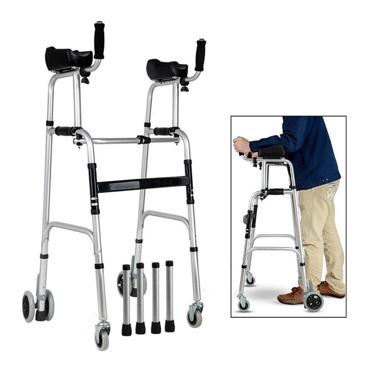 Walking Frame with Wheels Extra Large, Lightweight Height Adjustable Walking Frame with Armrests Auxiliary Walking Safety Walker (Color : with Brakes)