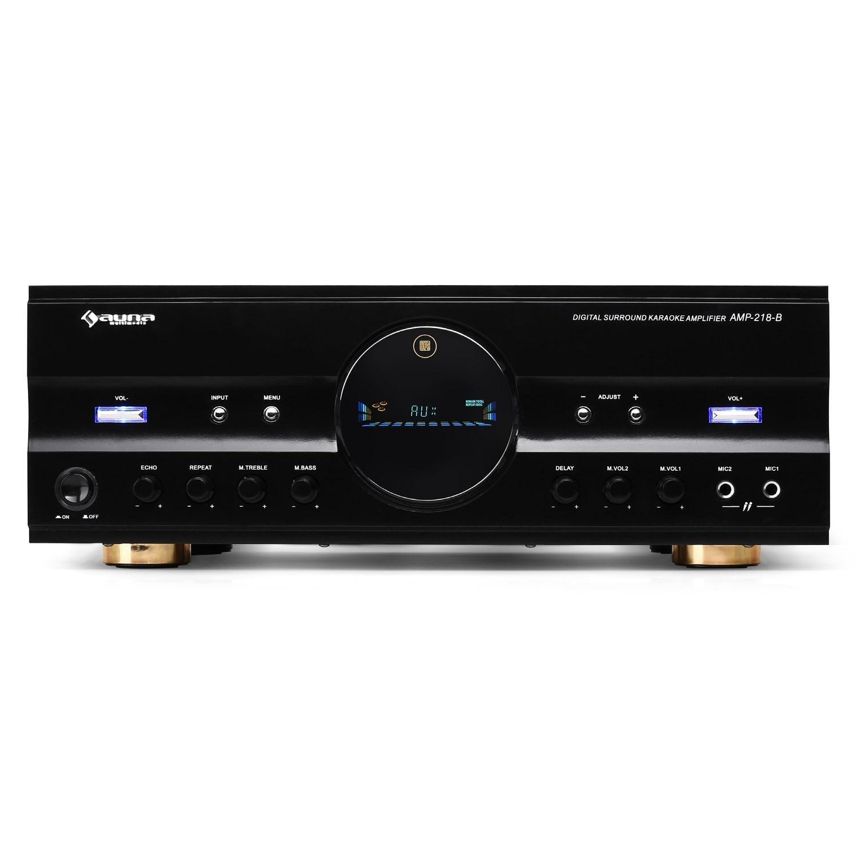 Auna AMP-218 • Récepteur HiFi • Amplificateur Surround 5.1 • Récepteur Radio • 600W Max. Puissance Totale • 2 entrées Micro • Télécommande Incluse • Eclairage Bleu • Balance r&eacut