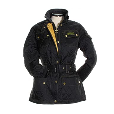 32db3aa8ba585 Women s Barbour Lightweight International Quilted Jacket - Black   Golden  Yellow  Amazon.co.uk  Clothing