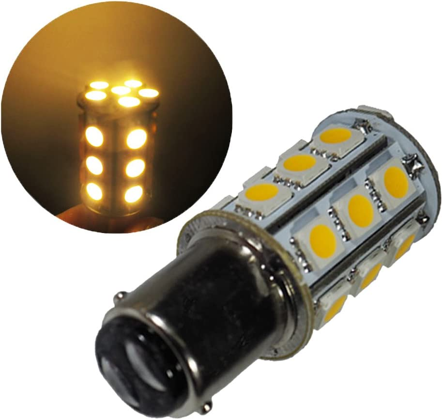 GLMING Ba15d 1076 1142 1004 Car LED Bulb Internal light Tail lights Turn signal light 24-5050SMD AC//DC 12V-24V Cool White Pack of 2