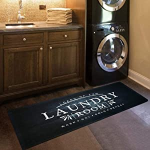 "USTIDE Black Laundry Room Rug Nonslip Rubber Backed Laundry Floor Mat Waterproof Kitchen Runner 20""x48""Black Wood Laundry"