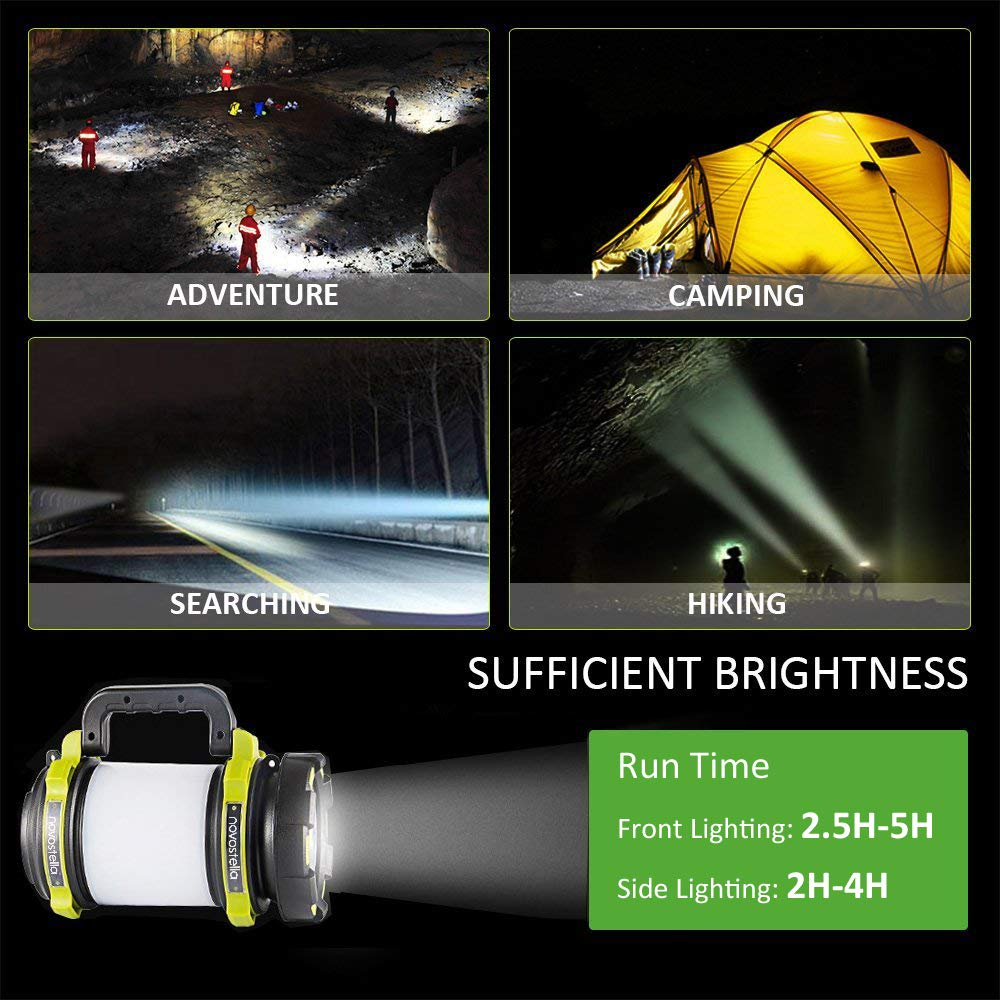 Novostella Rechargeable 1000LM CREE LED Spotlight, Multi Function Outdoor Camping Lantern Flashlight Hurricane Lantern 4000mAh Waterproof LED Searchlight with USB Cable for Hiking Fishing Emergency by Ustellar (Image #7)