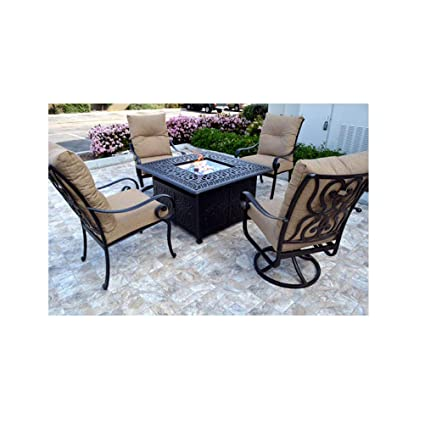 Patio Furniture Conversation Sets With Fire Pit.Amazon Com Conversation Set Patio Furniture Propane Fire Pit Table