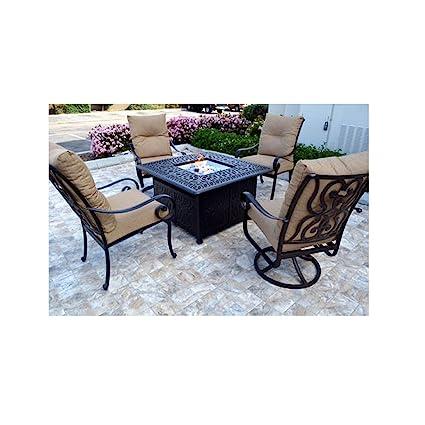 Amazon Com Conversation Set Patio Furniture Propane Fire Pit Table