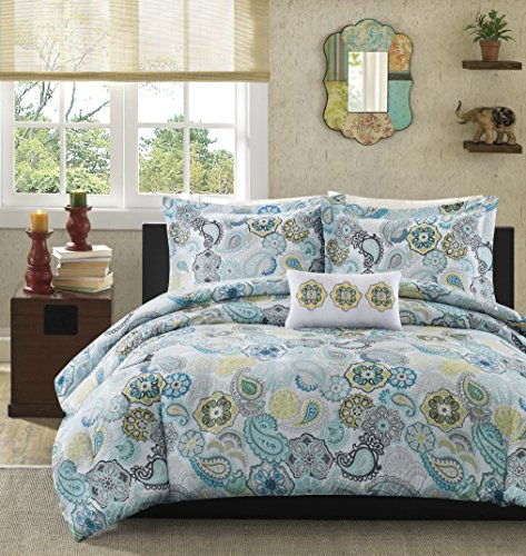 Mi Zone Tamil Comforter Set Full/Queen Size - Blue White , Floral – 4 Piece Bed Sets – Ultra Soft Microfiber Teen Bedding For Girls Bedroom