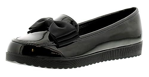 De Charol para Dama Mocasines Planos Estilo Zapato con Bruto Grano Lazo Ideal para Chica para