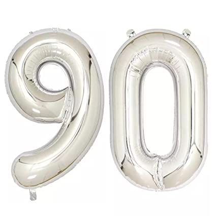 Amazon 40inch Silver Foil 90 Helium Jumbo Digital Number