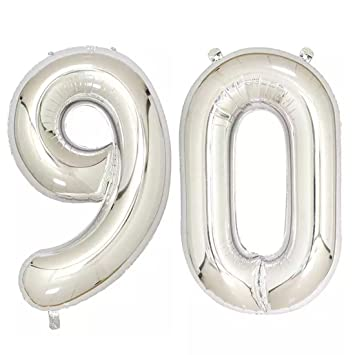 40inch Silver Foil 90 Helium Jumbo Digital Number Balloons 90th Birthday Decoration For Women Or