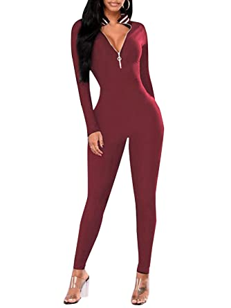 2872cb2424f Glamaker Women s Sexy Bodycon Zipper Jumpsuit One Piece Long Sleeve Sports  Tracksuit Burgundy