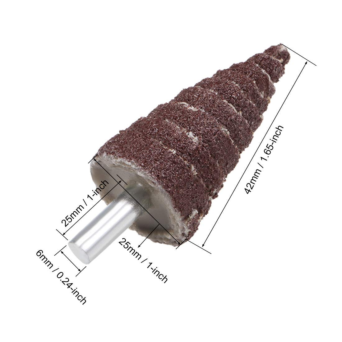 Sanding 5 Pieces 25mm Cone-Shaped Abrasive fin Wheel polishing 1//8 inch Shank for deburring 80 grit