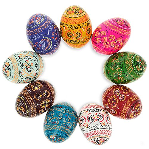 Set of 9 Hand Painted Wooden Pysanky Ukrainian Easter Eggs 2.5 -