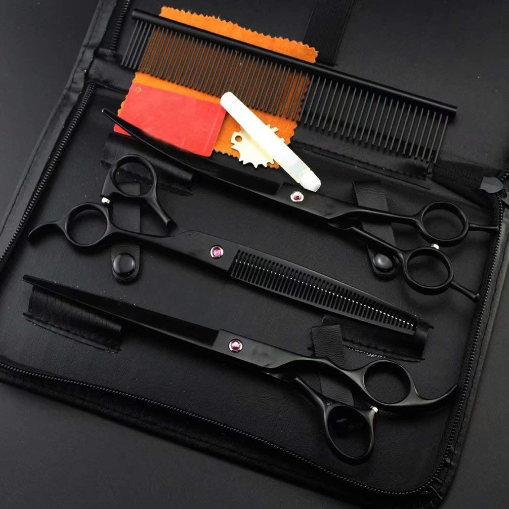 Black 8-inch Luxury pet Grooming Scissors Set for Hairdressers or Home or pet Stores, Light and Sharp