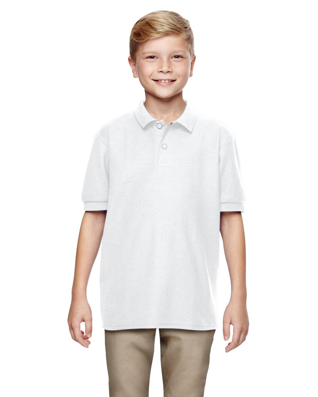 Gildan Boys DryBlend 6.3 oz. Double Piqué Sport Shirt (G728B) -White -L-12PK