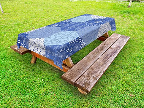 Lunarable Japanese Outdoor Tablecloth, Antique Asian Patchwork Artwork Ethnic Floral Pattern Geometric Hexagonal Handmade, Decorative Washable Picnic Table Cloth, 58 X 84 inches, Blue White from Lunarable