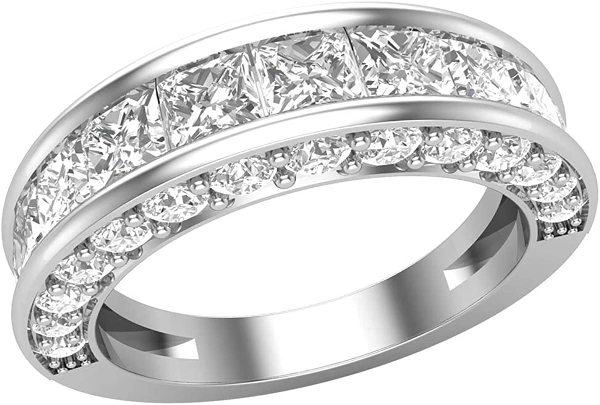 0.75 TCW Round Cut Simulated Diamond 14k White Gold Finish Half Eternity Band Wedding Ring