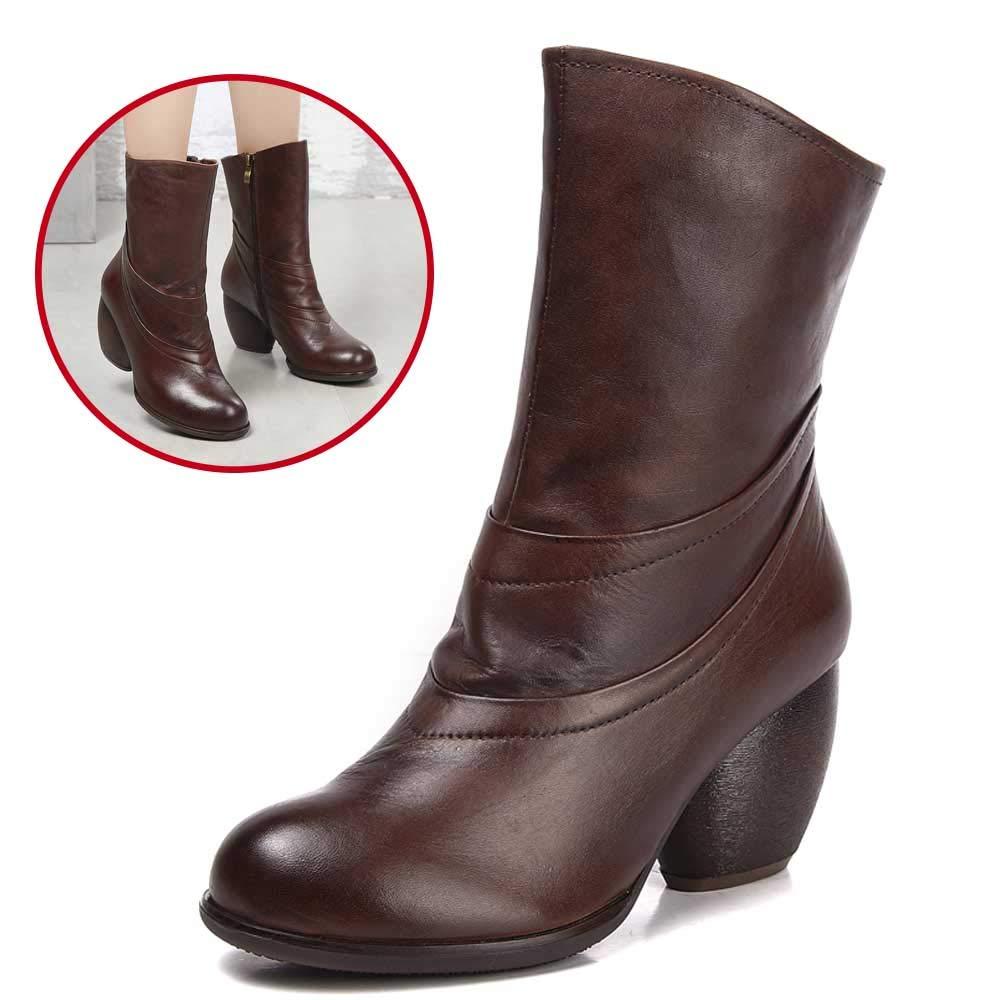 schuhe house Damenarze-Stiefel, Leder-High-Heel-Knöpfe, Leder-Anti-Rutsch-Plattform Damenschuhe Greib braune Größe 35-39