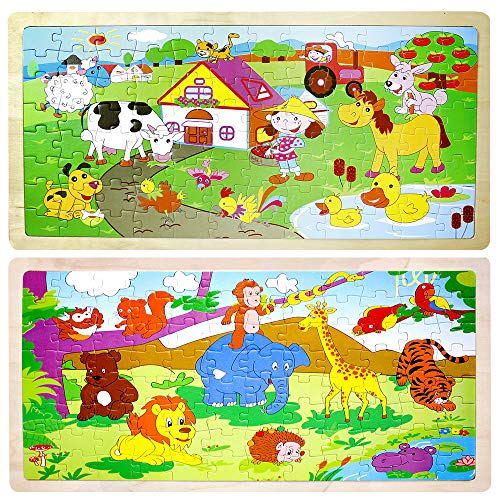 Jigsaw Puzzles for Kids Children's Educational Toys 3-14 Years Flat Puzzle Wooden Log Box 2 Sheets 96 Cartoon Animal Puzzles