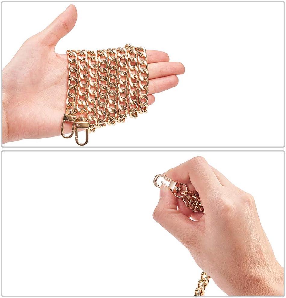 PH PandaHall 4 Strands 4 Colors 24 Inch Iron Flat Chain Strap Handbag Chains Accessories Purse Straps Shoulder Cross Replacement Straps with Swivel Buckles Platinum//Antique Bronze//Gunmetal//Light Gold