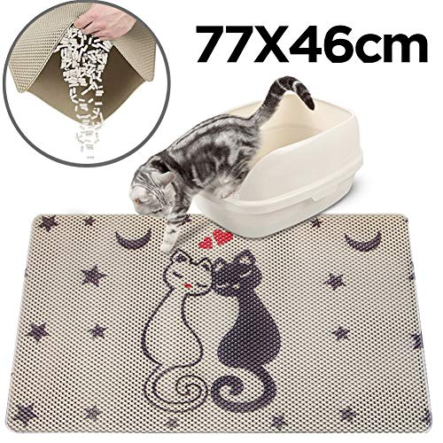 RioRand Cat Litter Mat Trapper Mat 30X18 Inch Honeycomb Double Layer Design Easy Clean Pet Feeding Mat for Litter Boxes