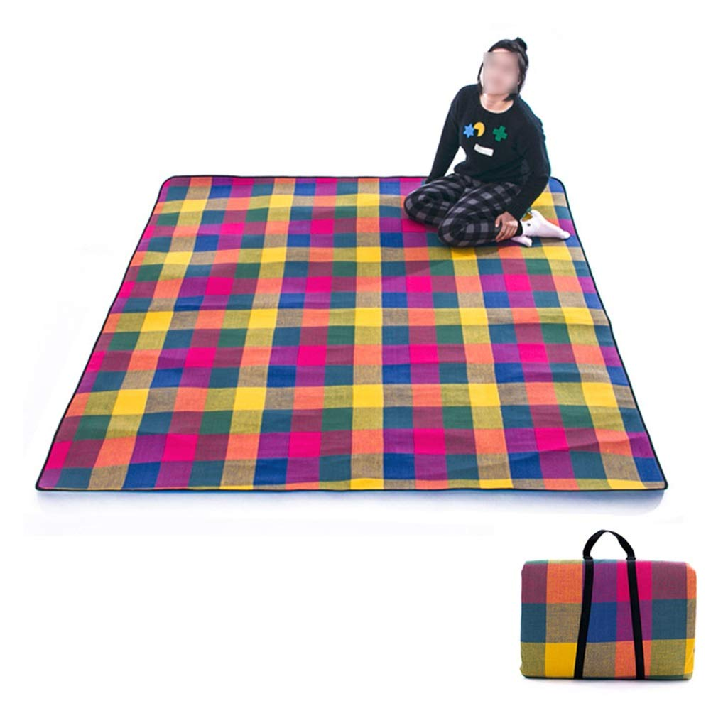 ZLX Picnic Blanket Waterproof Backing, Outdoor Moisture-Proof 5mm Picnic Mat/Thickening Large Portable Waterproof Spring Tour Mat Children's Lawn Picnic Mat (Color : Colored Grid, Size : 200210cm)