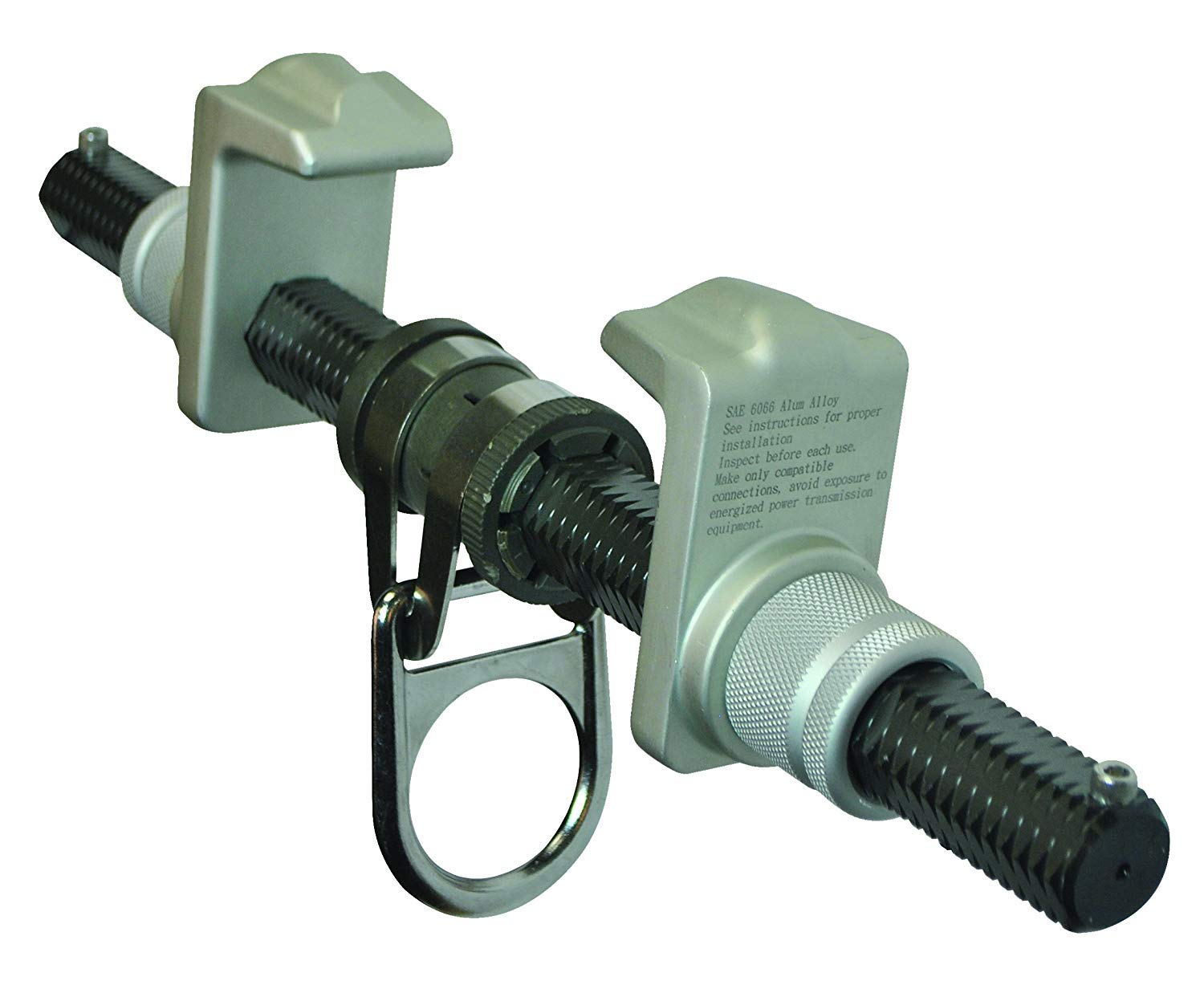 FallTech 7533 Steel, Trailing Beam Clamp Steel - Dual Adjustment for Centering on I-Beam, Aluminum Hex Bar and Jaws, 3'' to 13'', Natural