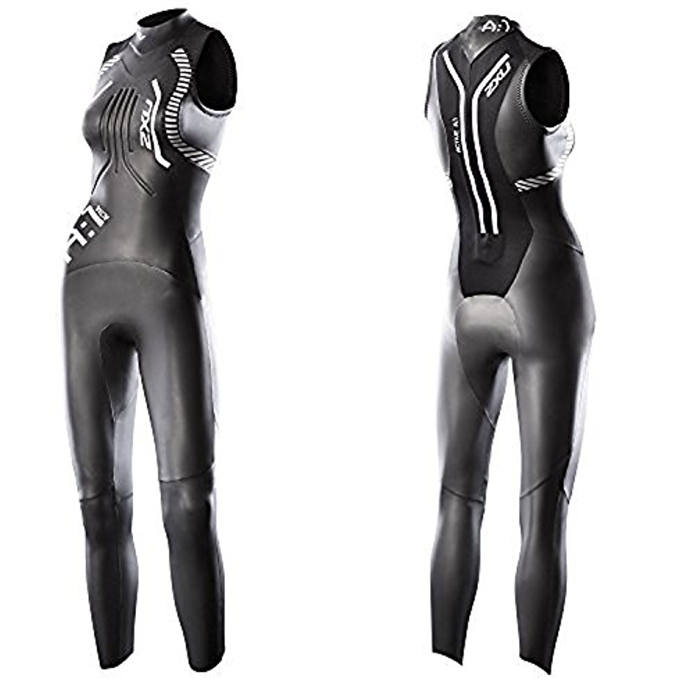 2XU Women's A:1 Active Sleeveless Wetsuit, Small Tall, Black/White