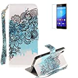 Sony Xperia Z2 Strap Case with Free Screen Protector,Funyye Colourful Print PU Leather Wallet Stand Full Body Protection Case Cover Skin - Black Flower