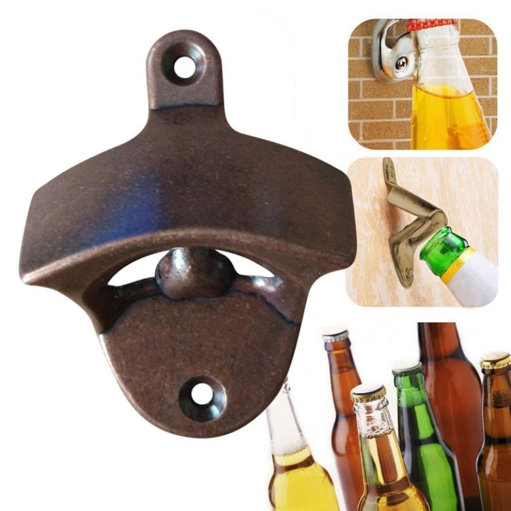 Compia Novelty Bronze Wall Mount Open Wine Beer Soda Glass Cap Bottle Opener Kitchen Bars Gift Corkscrew