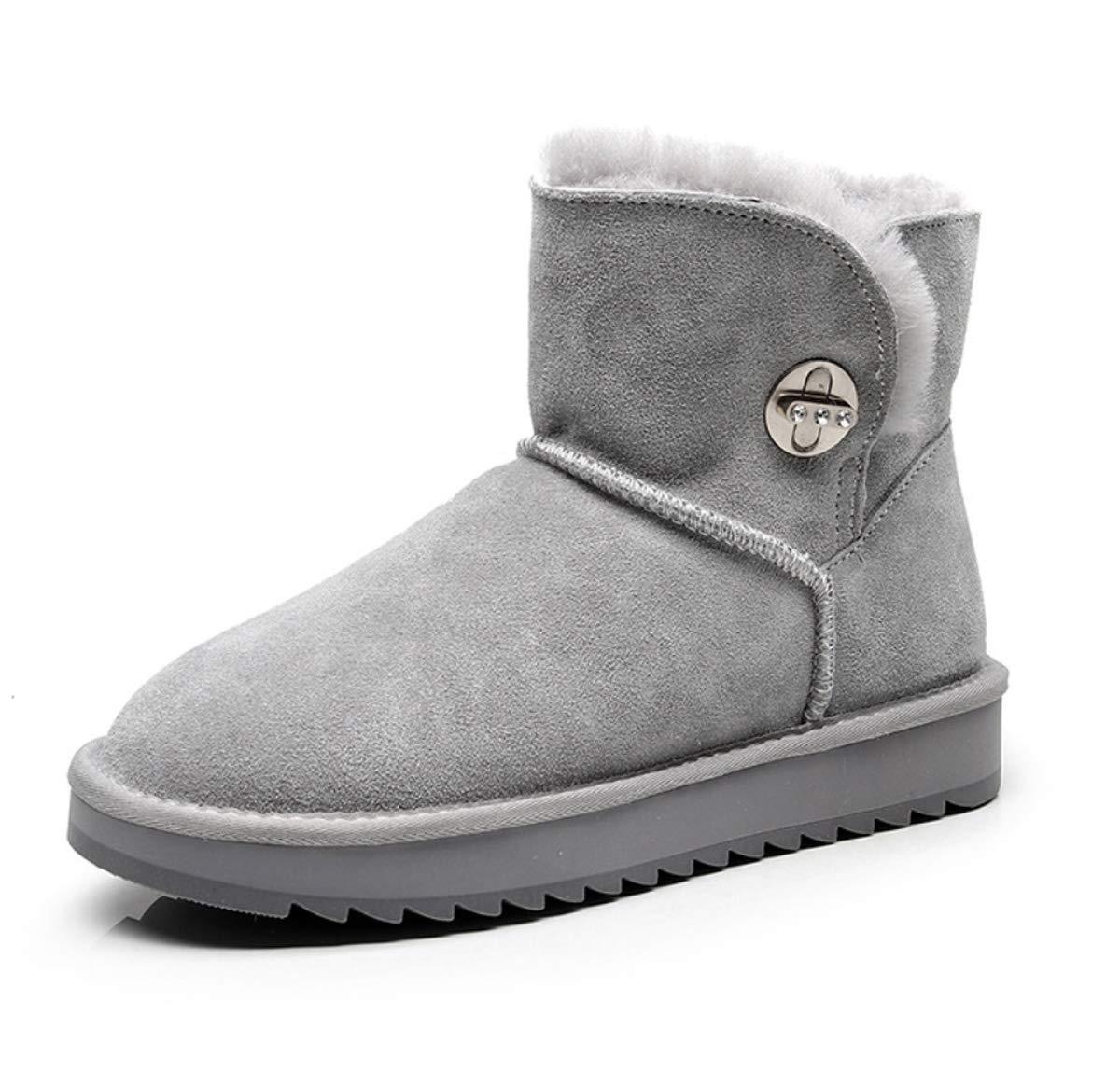 DANDANJIE Schneeschuhe für Frauen mit flachen Fersen-Knopf-beiläufigen Stiefeletten Arbeiten warme Schuhe für Winter 2018 um