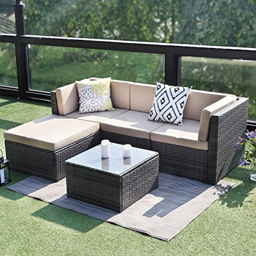 Grey Wicker Sectional Set - Wisteria Lane Outdoor Conversation Set Patio Furniture, 5PCS Sectional Sofa Set Wicker Glass Tale Chair with Ottoma,Gray
