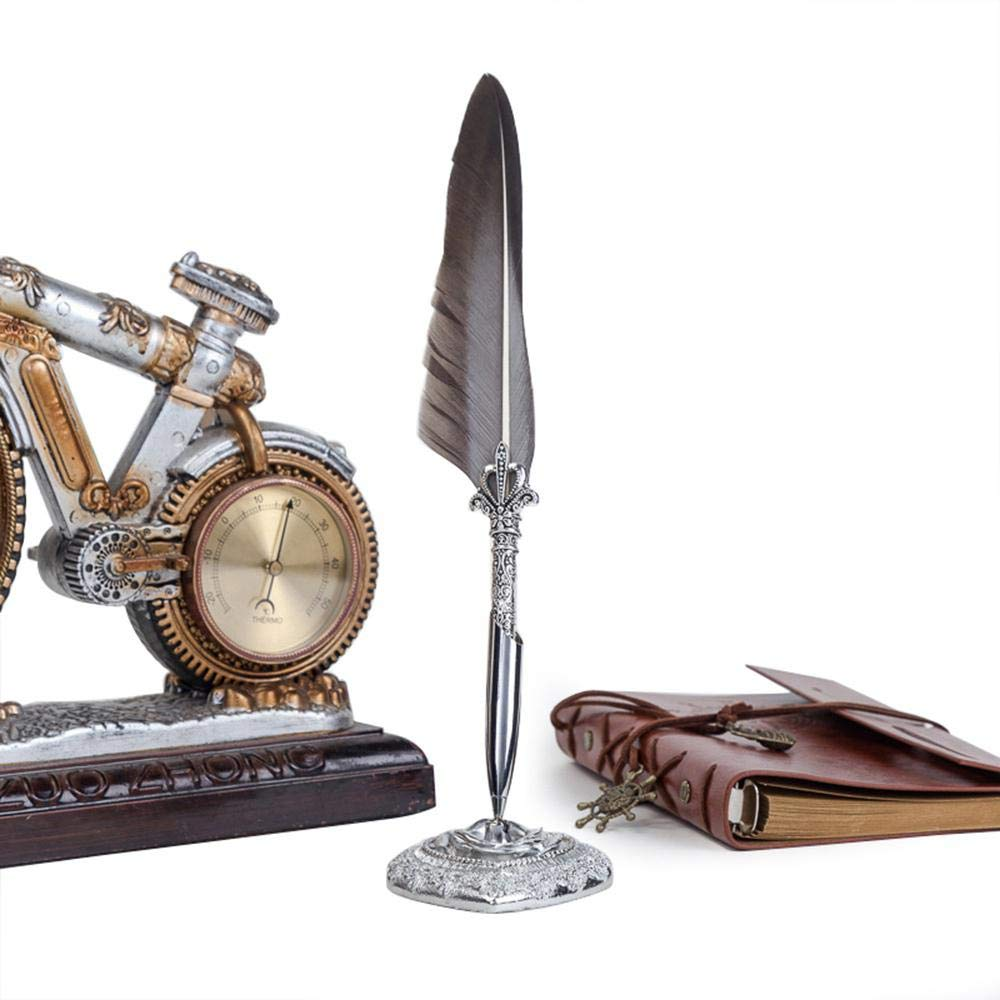 Pawaca Quill Pen,Antique Stylo en Forme de Plume,Main Luxe Stylo Superbe Quill Pen reconnu /à d/écouper en m/étal,Kit Cire /à Cacheter,Plume /à /écrire avec Encre,Cire Vintage pour Sceau