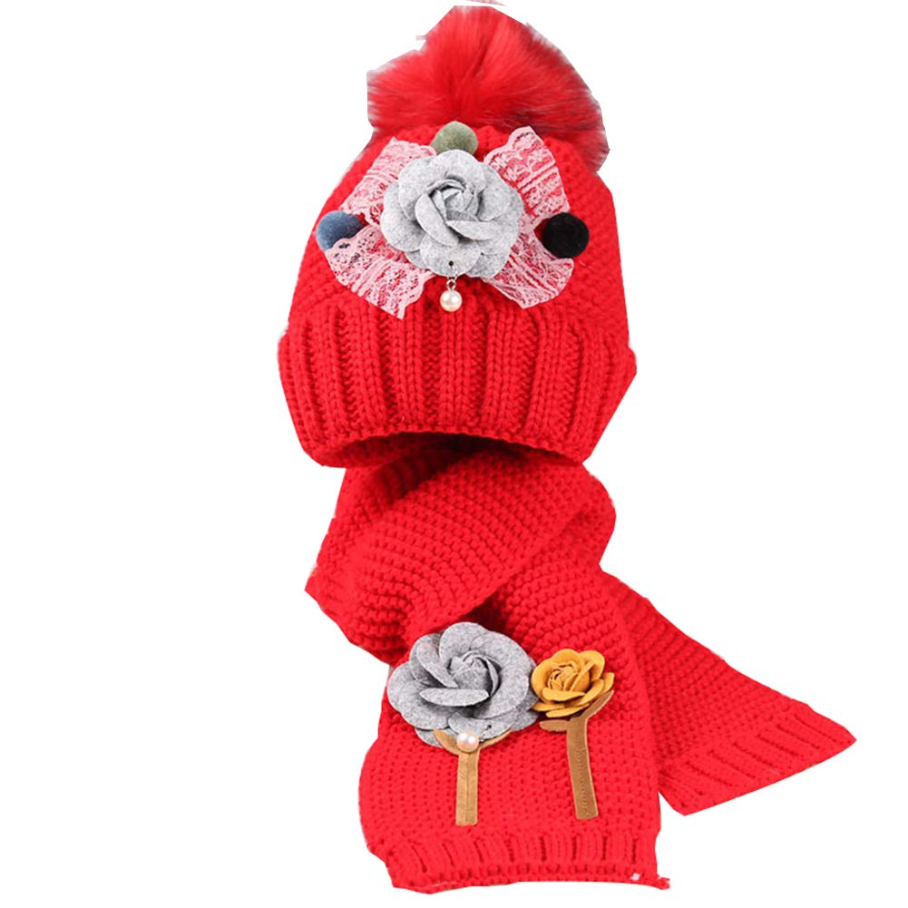 Cozywind Hat Scarf Sets for Girls Flower Knitted 2 Pieces Pompons Beanie Hat Scarves Kit for Kids