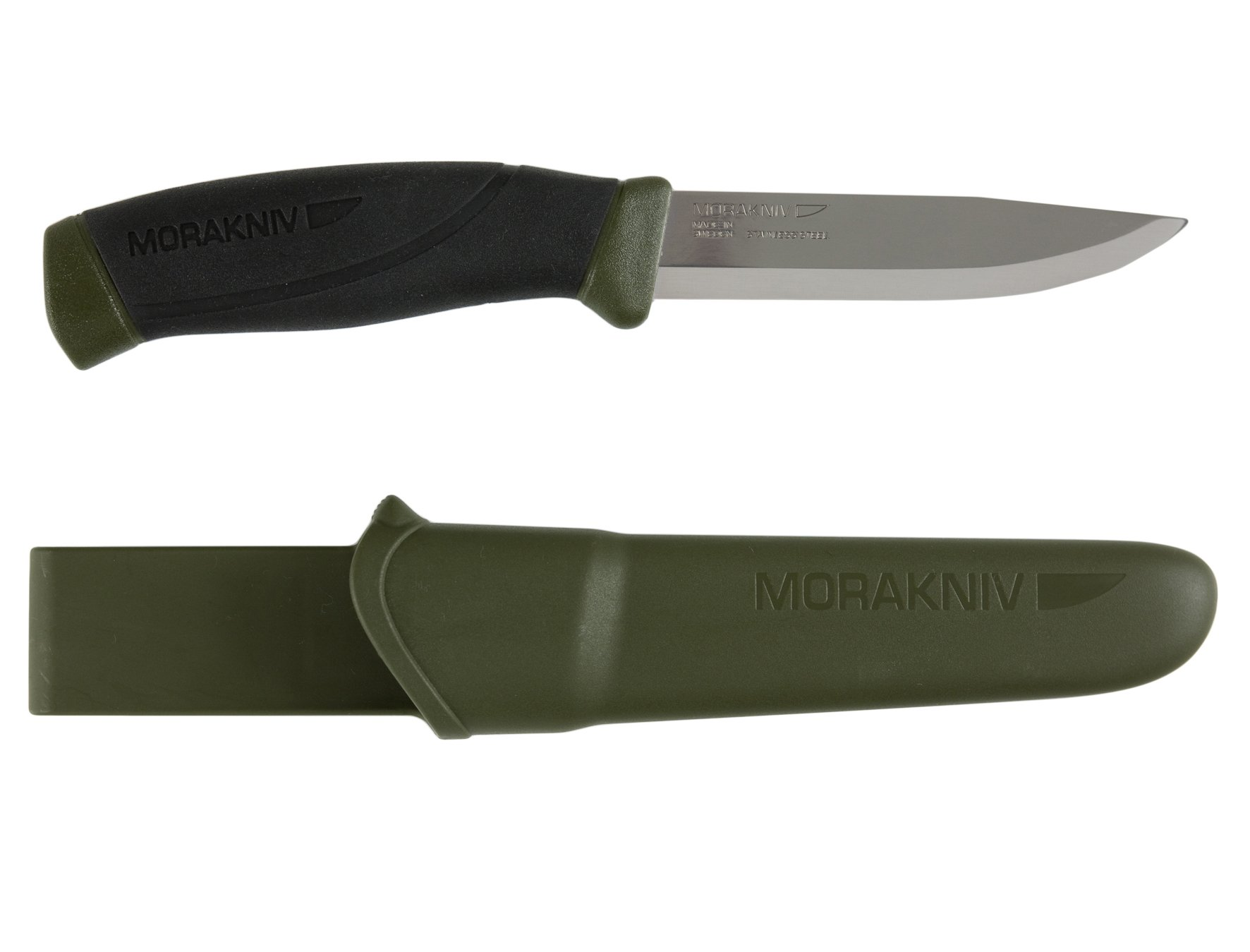 Morakniv Companion Fixed Blade Outdoor Knife with Sandvik Stainless Steel Blade, 4.1-Inch, Military Green